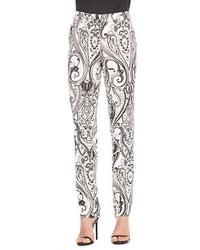 Etro Paisley Print Cady Pants Blackwhite