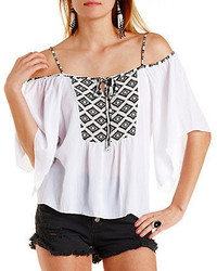 Charlotte Russe Strappy Aztec Print Peasant Top