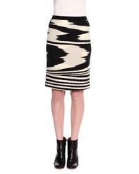 Missoni Printed Pencil Above Knee Skirt Blackwhite