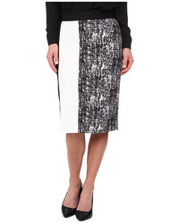 Vince Camuto Texture Etching Pencil Skirt W White Trim