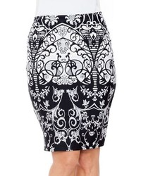 White Mark Print Pencil Skirt