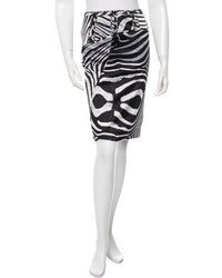 Roberto Cavalli Zebra Print Pencil Skirt