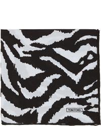 Tom Ford Zebra Print Silk Pocket Square Blackwhite