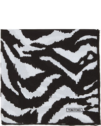 Zebra print silk pocket square blackwhite medium 271814