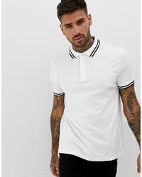 ASOS DESIGN Pique Polo Shirt With Tipping In White