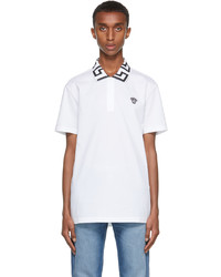 Versace White Black Greca Collar Polo