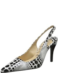 White and Black Print Pumps