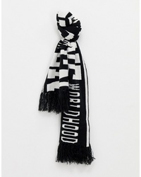 White and Black Print Scarf