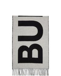 Burberry Black And White Cashmere Mega Check Logo Scarf