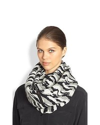 Diane von Furstenberg Darrene Animal Print Circle Scarf Black White
