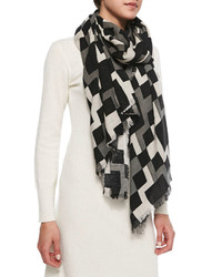 Michl stars geometric print fringed wrap scarf blackwhitegray medium 128256