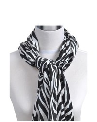 Selini Black And White Animal Print Pashmina Scarf Ls3750