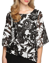 Alex Evenings Floral Tiered Chiffon Blouse