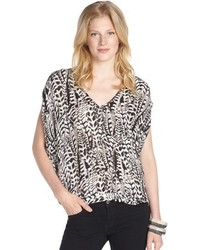 Chelsea Flower Black And White Vines Print Silk Boxy Blouse