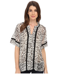 Two By Vince Camuto Short Sleeve Gravel Plains Y Neck Tent Blouse