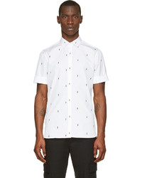 White and Black Print Short Sleeve Shirt