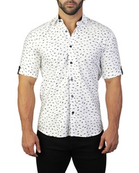 Maceoo Galileo Shark White Regular Fit Short Sleeve Sport Shirt
