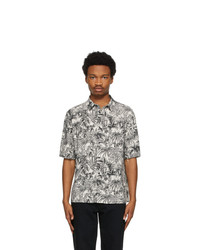 Saint Laurent Off White And Black Floral Short Sleeve Shirt