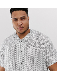 Jack & Jones Premium Plus Size Revere Collar Shirt In Ditsy Print