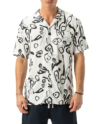 Zanerobe Wes Block Print Short Sleeve Button Up Camp Shirt