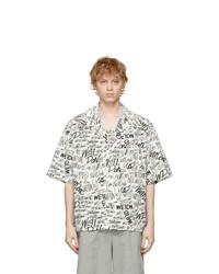 We11done White Allover Logo Short Sleeve Shirt
