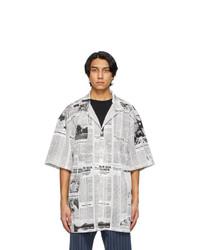 Balenciaga White And Black Happy News Short Sleeve Shirt