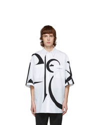 Givenchy White And Black Oversized Calligraphic Shirt