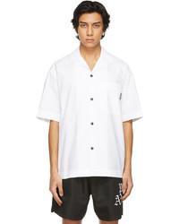 Palm Angels White Curved Logo Bowling Short Sleeve Shirt