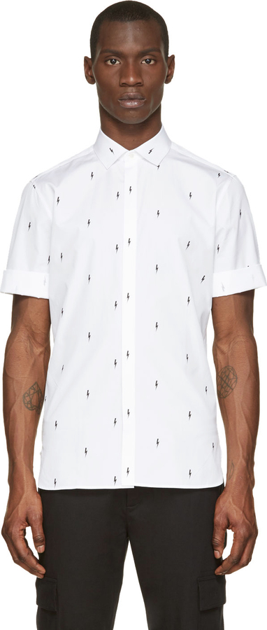 5ff9fa50c1 ... Neil Barrett White Lightning Print Short Sleeve Button Up Shirt ...