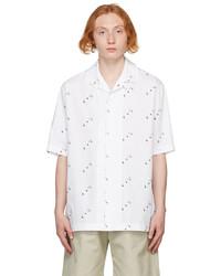 Off-White White Logo Allover Holiday Short Sleeve Shirt