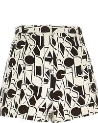 White and Black Print Shorts