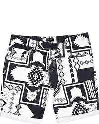 River Island Black And White Tribal Print Shorts