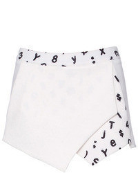 Romwe Graffiti Letter Print Asymmetric White Shorts
