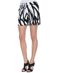 Escada Wave Print Shorts Blackwhite