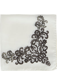 Alexander McQueen Lace  And Skull Pattern Pocket Square