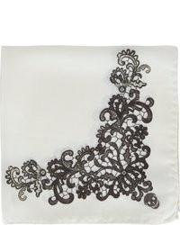 Lace and skull pattern pocket square medium 35598