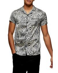 Topman Animal Print Satin Button Up Camp Shirt