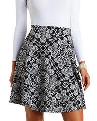 Charlotte Russe Textured Damask Print Skater Skirt