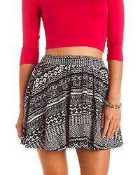 Charlotte Russe Smocked Waist Tribal Print Skater Skirt