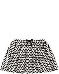 White and Black Print Skirt