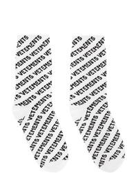 Vetements White All Over Logo Socks