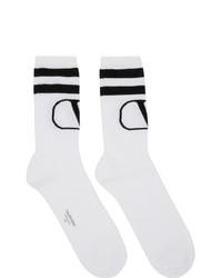 Valentino White And Black Garavani Vlogo Socks