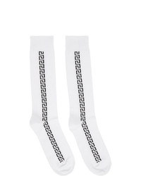 Versace White And Black Greek Key Socks