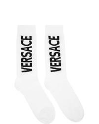 Versace White And Black Logo Socks