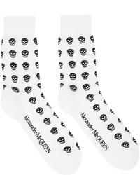Alexander McQueen White Black Skull Sport Short Socks