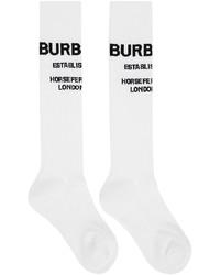 Burberry White Horseferry Knee High Socks