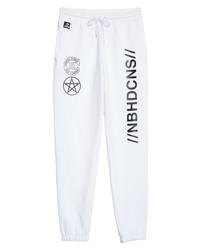 White and Black Print Sweatpants