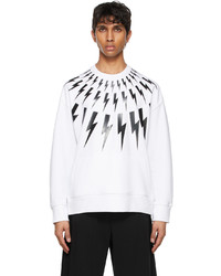 Neil Barrett White Fair Isle Thunderbolt Sweatshirt