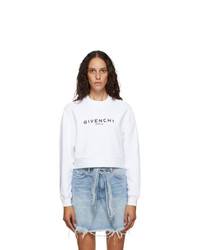 Givenchy White Paris Logo Cropped Sweatshirt
