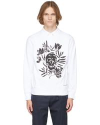 Alexander McQueen White Skull Leaves Sweatshirt